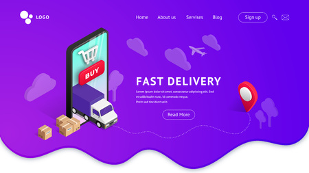 Fast Delivery online vector isometric illustration. Landing page concept with smartphone on violet gradient fluid shape background. Logistic digital shopping advert concept. For web, template, ui, mobile ap Ilustração