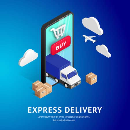 Express Delivery online isometric design with phone, truck, plane, boxes on blue gradient background. Logistic digital shopping advert concept. For web, banner, print, ui, mobile app. Vector illustration 일러스트