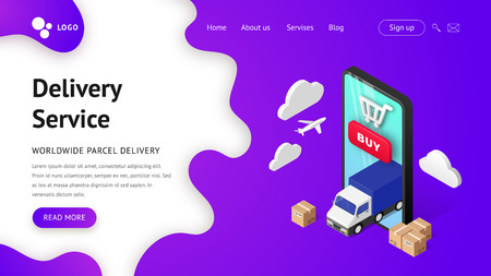 Delivery service online vector isometric illustration. Landing page concept with smartphone, truck, plane and boxes. Transportation and logistic digital shopping advert concept. For web, template, ui, mobile app