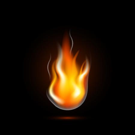 Realistische vuurvlam geïsoleerd op zwarte achtergrond. Vlam branden pictogram. vectorillustratie