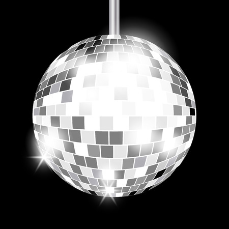 Vector illustration of Silver mirror disco ball with l highlight isolated on black background