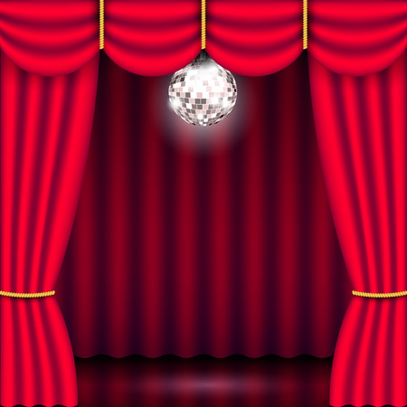 Theater stage backdrop with red curtain and bright mirror silver disco ball. Show background performance concert poster. Realistic 3D vector illustration Illustration