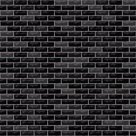 Vector brick wall seamless background. Realistic black brick texture