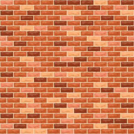 Vector brick wall seamless background. Realistic orange brick texture
