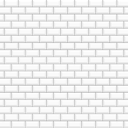 White glossy ceramic tiles. Seamless pattern, vector illustration brick wall