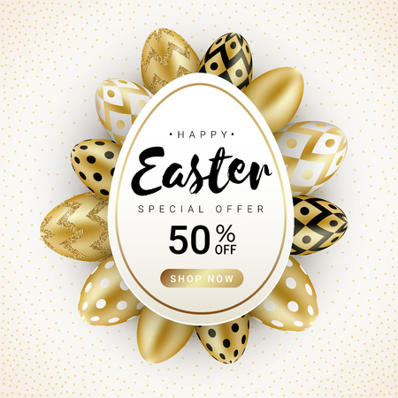 Happy Easter sale banner concept with realistic shine golden eggs isolated on white background. Vector illustration for greeting card, ad, promotion, poster, flyer, web-banne