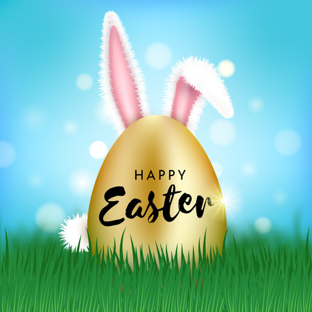 Vector Happy Easter Illustration. Realistic golden egg with rabbit ears and tail, sticking out of the grass. Spring holiday celebration poster design template for greeting card, ad, promotion, poster, flyer, web banner