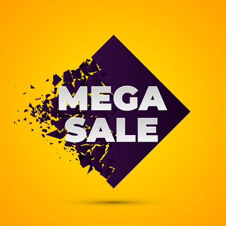Mega Sale Abstract banner with explosion effect. Dark violet rhombus with fuzz splinter and text on gradient yellow background. Vector illustration