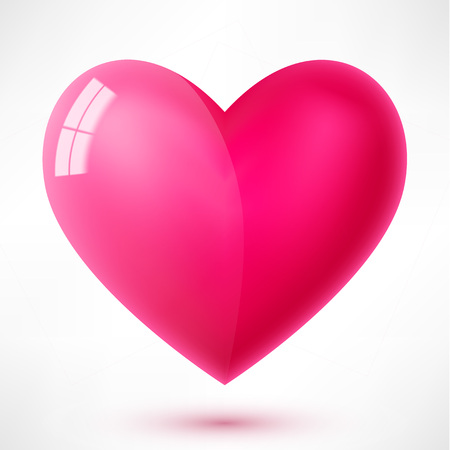 Trendy vector glossy heart with reflection and shadow isolated on white background. For web site, greeting card and Valentine's day Vector Illustration
