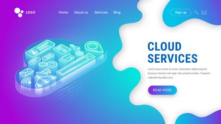Izometryczna strona docelowa usług w chmurze na płynnym neonowym tle. Świecąca chmura z ikonami w środku. Koncepcja strony internetowej. Technologia internetowa Szablon wektor projektu sieci Web