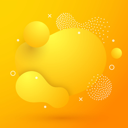Abstract modern yellow liquid color Background. Dynamic colorful elements design. Fluid gradient geometric shapes, dots, circles. For presentation, cover, logo, flyer, web. Amoeba vector illustration  イラスト・ベクター素材
