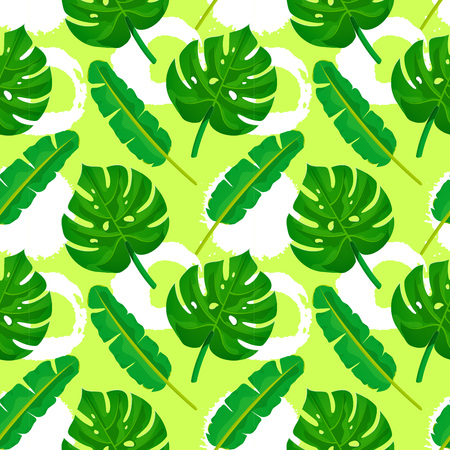 Palm leaves seamless pattern. Green tropical plants texture on yellow painted background with grunge circles. Nature organic background. Vector illustration