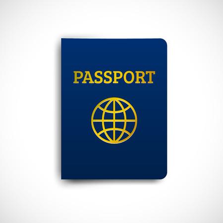 Blaue Abdeckung des internationalen Passes mit der Schattenschablone lokalisiert auf weißem Hintergrund. Vektor-Illustration