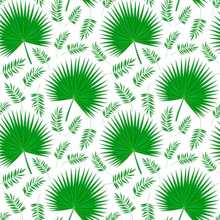 Seamless tropical pattern with palm leaves on white background. Palmetto leaf texture in flat style for print, wallpaper, decor, fashion fabric, textile, paper, poster background. Vector illustration