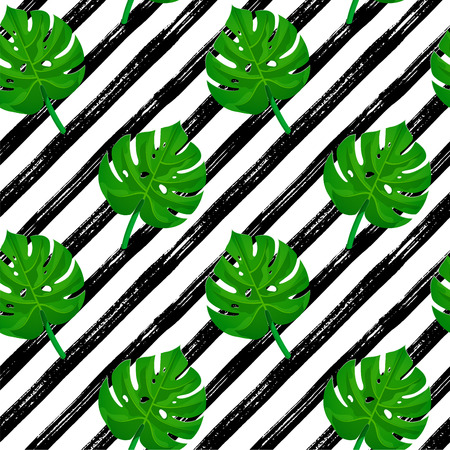Seamless brush stroke pattern. Black hand drawn stripes on white with tropical palm leaves. Texture for print, wallpaper, decor, fashion fabric, textile, paper, poster background. Vector illustration Banque d'images - 121354498