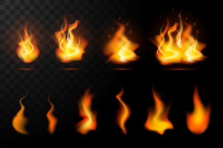 Realistische Feuerflammen isoliert auf transparentem Hintergrund. Spezieller brennender Lichteffekt mit Funkenkollektion für Design und Dekoration. Vektorillustration Vektorgrafik