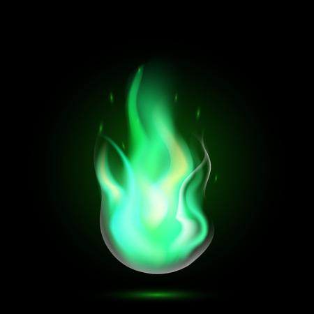 Fiamma magica della palla di fuoco verde. Fuoco realistico isolato su sfondo nero. Speciale effetto luce bruciante con scintille per il design e la decorazione. illustrazione vettoriale