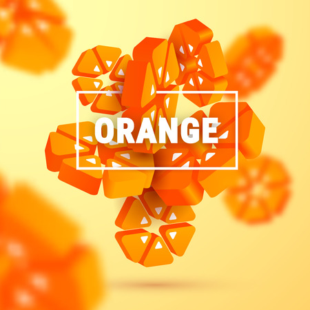 3d fresh sliced geometric orange on gradient background. Fruit abstract banner with text. Modern summer juice concept. Vector illustration