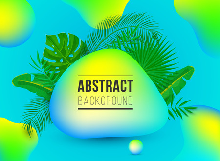 Summer modern abstract background with palm leaves, futuristic fluid neon shapes with realistic shadows on gradient background. Liquid design for banner, cover, web, presentation, flyer