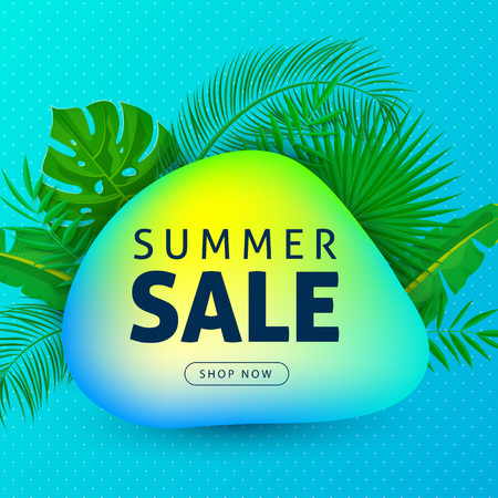 Summer sale web banner decorate with palm leaves and abstract neon fluid shapes, text, button, dotted background. Voucher discount design layout template. Vector illustration