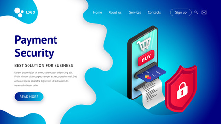 Online payment security web page design concept. Safety and protection buy Isometric landing template with creative smartphone integrated ATM behind the shield. Vector illustration
