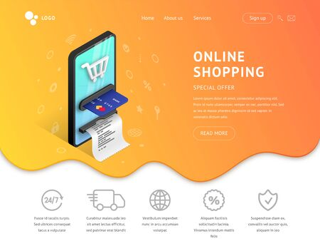 Landing page web design template for online shopping. 3d isometric concept for internet store site. Web page template with smartphone integrated ATM, icons and fluid background. Vector illustration