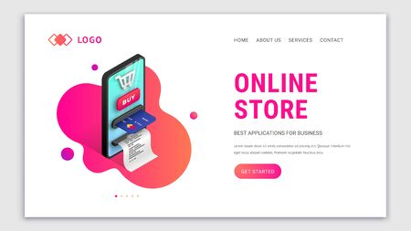 Landing page web design template for online internet store. Modern 3d isometric concept for online shopping site. Online payment template with smartphone integrated ATM. Vector illustration