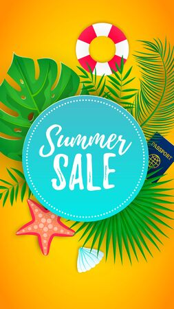 Summer sale promo web banner decorate with tropical palm leaves, sea star, shell, passport, lifebuoy. Voucher tourism discount design background vertical template. Vector illustration