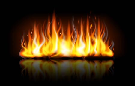 Realistic editable fire flames with reflection isolated on black background. Special burning light effect with sparks for design and decoration. Bonfire background Vector Illustration