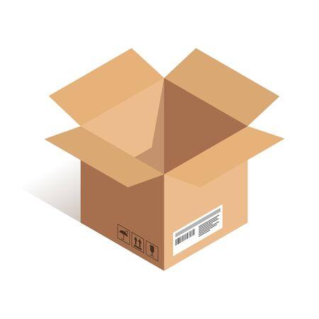 Isometrisches Symbol für den offenen Lieferkasten isoliert auf weißem Hintergrund. Online-Versand-Vektor-Illustration. Kann für Web, Apps, Infografiken verwendet werden