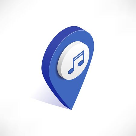 Map pointer 3d pin vector isometric icon. Blue geotag location point with music, notes symbol isolated on white background. Vector illustration for web, apps, infographics Standard-Bild - 128766699