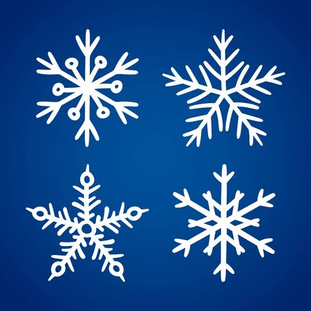 Set of white hand drawn snowflake icons isolated on blue gradient background. New year and winter doodle symbol for print, web, design, decoration, logo or mobile app Illusztráció