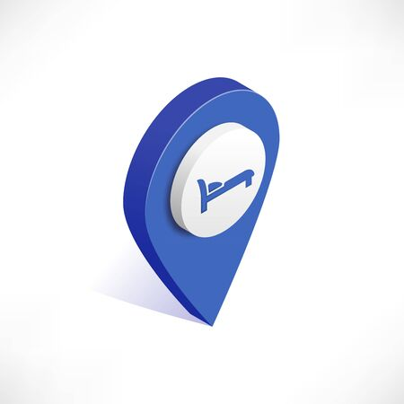 Map pointer 3d pin vector isometric icon. Geotag location point with bed. Hotel Room sign, Rest travel symbol isolated on white background. Vector illustration for web, apps, infographics