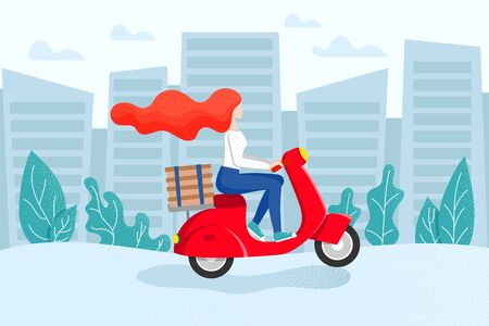 Free Express city pizza delivery on scooter. Fast shipment concept. Redhead girl courier rides a moped with stack of boxes. Delivery service poster with female character. Vector illustration Illustration