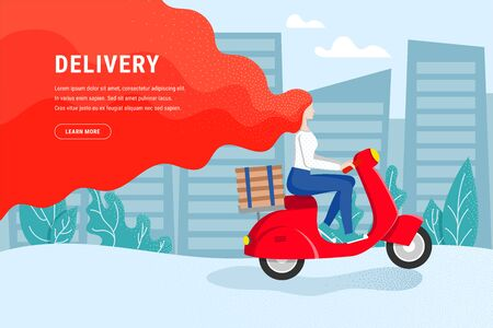 Free Express city pizza delivery on scooter. Fast shipment concept with text. Redhead girl courier rides a moped with stack of boxes. Delivery service poster with female character. Vector illustration