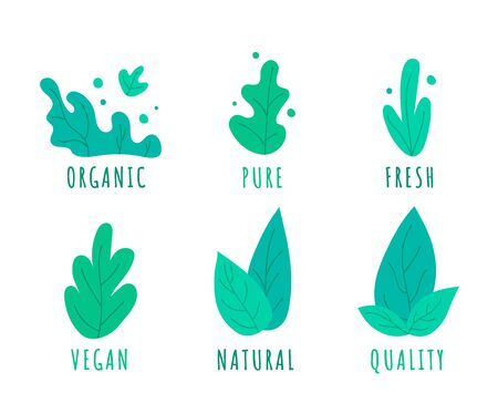 Hand drawn farm organic logo templates set with green leaves. Natural, Pure, Vegan, Quality, Fresh Emblem Collection for restaurant menu, organic food package, sticker, web. Vector illustration