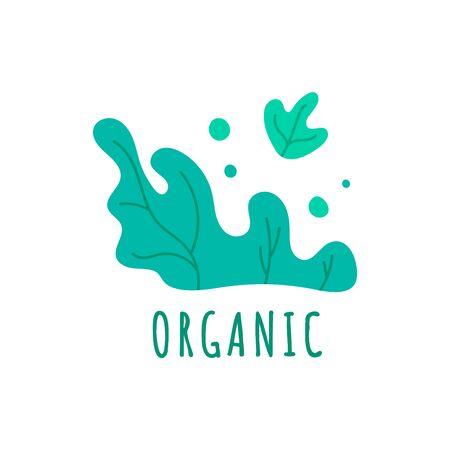 Hand drawn farm organic logo template with green leaves. Natural vegan product emblem for restaurant menu, organic food package, sticker, web. Vector illustration Stock Illustratie