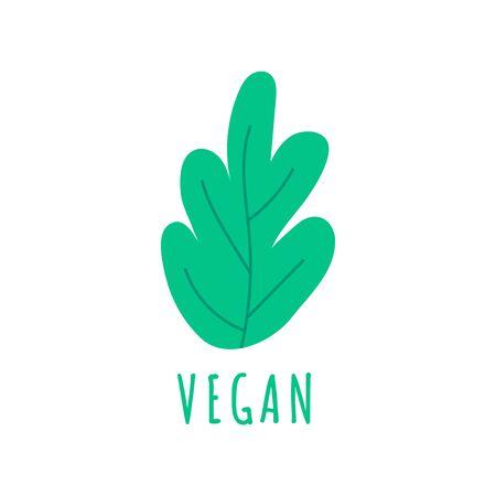 Hand drawn farm vegan logo template with green leaf. Natural product emblem for restaurant menu, organic food package, sticker, web. Vector illustration