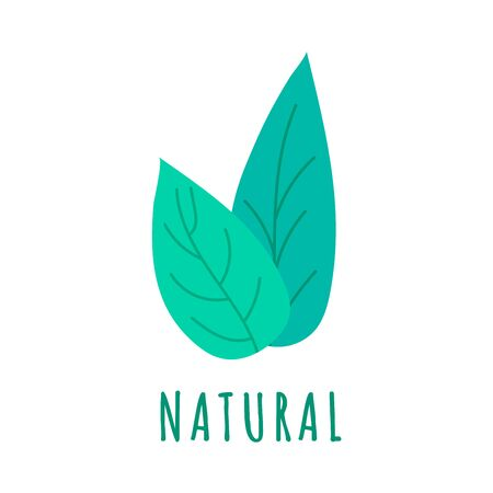 Hand drawn farm natural logo template with green leaf. Natural product emblem for restaurant menu, organic food package, sticker, web. Vector illustration Stock Illustratie