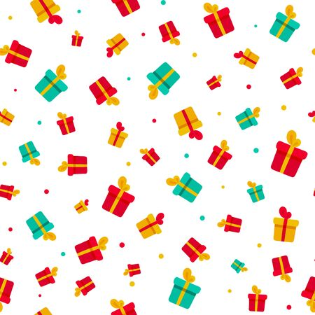 Color delight gift box and confetti isolated on white seamless pattern. New year, anniwersary, birthday, sale texture for print, paper, design, fabric, decor, gift wrap, background vector illustration Stockfoto - 129277864