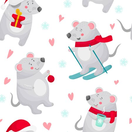 Winter new year mouse seamless pattern
