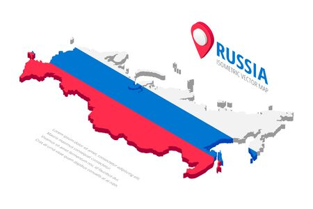 Isometric Russia map icon with text and pin isolated on white background. 3D concept silhouette in colors of russian flag white, blue,red. Vector illustration