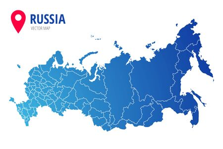 Russia administrative map with borders of regions