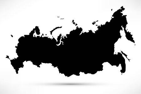 Russia map black silhouette icon