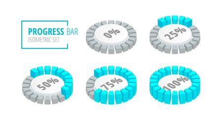 Set of circular progress loading bar isometric