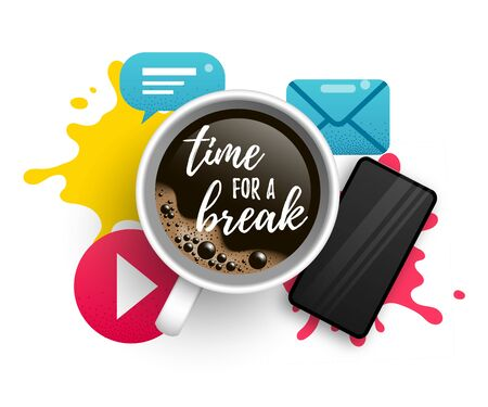 Time for a break vector illustration with coffee Stock Illustratie