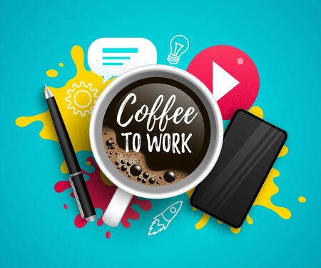 Coffee to work vector illustration with coffee