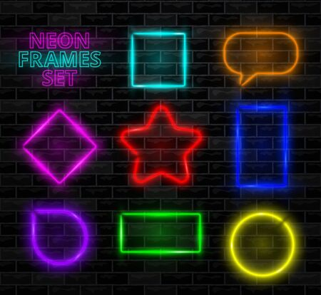 Realistic neon frame on brick wall background. Different color lamp set. Glowing shapes of square, rectangle, circle, star, rhombus. Collection of template design element. Vector illustration