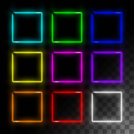 Realistic neon frame set square  イラスト・ベクター素材