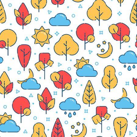 Autumn seamless pattern trees, sun, clouds, moon Stock Illustratie